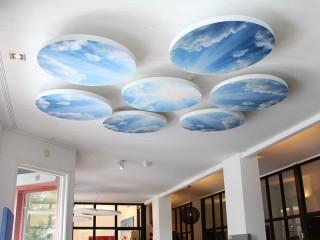 Acoustic printed ceiling tiles